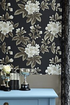 This large scale floral wallpaper features bright white and grey flowers on a striking black wallpaper. Browse our range of vintage floral wallpaper online. Luxury Wallpaper, Black Wallpaper, Designer Wallpaper, Vintage Floral Wallpapers, Little Greene, Wallpaper Online, Decoration, Floral Prints, Interior Design