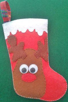 Bota de Rudolf, reno navideño, Decoración del árbol, Figura de fieltro, Original y Divertida de LaTiendaDeLore en Etsy