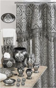 Medina Black U0026 Silver Damask Fabric Shower Curtain W Tassel Trimmed Valance  New   Shower Curtains