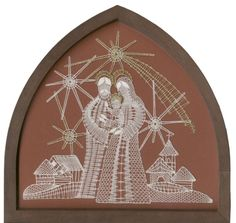✧ Bobbin lace folk art of the Nativity ✧ Doily Art, Nail String Art, Bobbin Lace Patterns, Crochet Butterfly, Christmas Nativity Scene, Lacemaking, Lace Heart, Christmas Embroidery, Needle Lace
