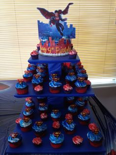 superman birthday cupcakes