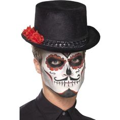 Unisex Men s Women s Day Of The Dead Top Hat With Roses Halloween Fancy Dress