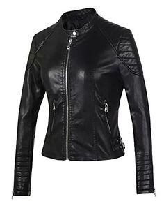 46e8e7e938 Femme Veste en Cuir Blousons Fermeture Éclair Manteau Slim Fit Court Veste  De Moto Noir M
