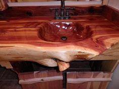 Items similar to Handcrafted, Handcarved Cedar Log Bathroom Vanity on Etsy Log Home Bathrooms, Rustic Bathrooms, Rv Bathroom, Wood Turning Lathe, Wood Turning Projects, Cedar Furniture, Rustic Furniture, Industrial Furniture, Wood Sink