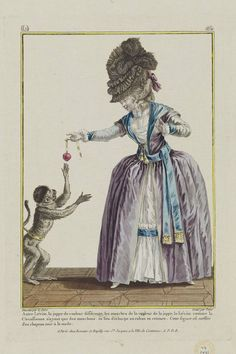 """Gallerie des Modes et Costumes Français. 28e Cahier de Costumes Français, 22e Suite d'Habillemens à la mode en 1780. dd.164 """"Autre Lévite...""""  French, 1780  Designed by Pierre-Thomas LeClerc, French, about 1740–after 1799  Engraved by Charles Emmanuel Jean Baptiste Patas, French, 1744–1802  Publisher Esnauts et Rapilly, French, 18th century    Love the frock, and the pomegranate she is dangling for the pet monkey!"""