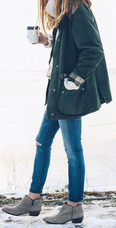 #winter #fashion / military green jacket + knit