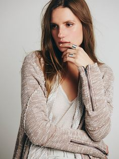 Free People In The Loop Cardi at Free People Clothing Boutique Free People Clothing, Boutique Clothing, Layering, October, Turtle Neck, Sweaters, Closet, Fashion, Armoire