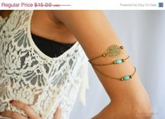 SALE Armlet Slave Bracelet Arm Bracelet Piece Hipster Bronze Chain Belle Turquoise & Filigree Body Jewelry
