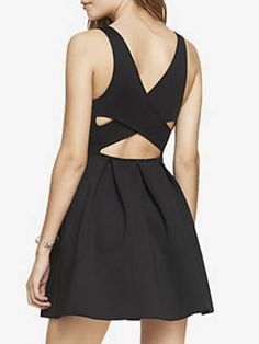 Shop Black Cross Back Sleeveless A-line Mini Dress from choies.com .Free shipping Worldwide.$20.99