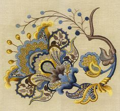 'The Royal Persian Blossom,' crewel embroidery designs by Anna Garris Goiser.