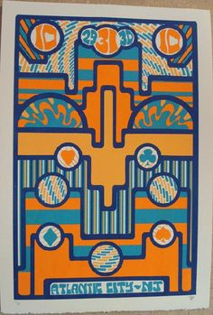 Original silkscreen concert poster Phish in Atlantic City for Halloween in 2010. 15 x 21 inches. It is printed on Watercolor Paper with Acrylic Inks. The poster is signed and numbered 14/30 by the artist Tripp.