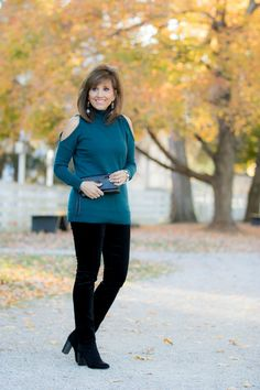 Fashion blogger, Cyndi Spivey, sharing a cold shoulder turtleneck with velvet pants... Love the style and color of the top!