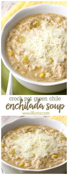 Crock Pot Green Chile Enchilada Soup - a new favorite soup recipe that is easy to make AND delicious! { lilluna.com } #soup