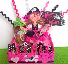 Pirates Birthday Cake topper for girls mirendl says: We received our Pirate Girl cake topper today, safe and sound, and it arrived very quickly I might add. It came out so beautiful. My daughter is just thrilled! We had to thank you for your great work. It must not be easy to do such delicate art work. We already have plans for displaying it in her room after her birthday party #birthday #pirates #caketopper