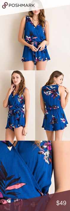 Fusion Faux Wrap Floral Romper Faux wrap floral romper. Runs slightly loose. Brand new with tags. Model is wearing the size small. Bare Anthology Pants Jumpsuits & Rompers