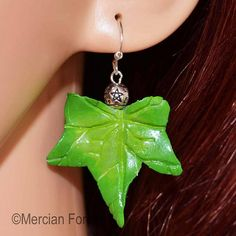 GBP - Ivy Leaf Earrings In Spring Tones - Pagan Jewellery, Druid, Wiccan, Nature Pagan Jewelry, Ivy Leaf, Pentacle, Leaf Earrings, Wiccan, Different Colors, Belly Button Rings, Polymer Clay, Gems