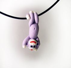 READY TO SHIP Lavender Swinging Sock Monkey Pendant by MagicByLeah, $35.00