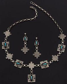Navajo, Multi-Stone Inlay, Sterling Silver Jewelry.
