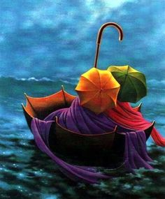 Artodyssey: Claude Théberge I bought this postcard, still have it, in Toronto at a mall in 1995. Fell in love with it and it's Umbrellas so... of course.