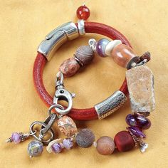 Love the combo of thick leather and beaded bracelet