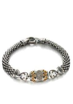 Belk Co. Diamond Bracelet in Sterling Silver with 14k Yellow Gold