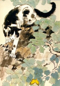 Chat et papillon jaune - Cat and yellow butterfly    Hsu Pei-Hung, 許培鴻  (1895-1953),  Chine,  Metropolitan Museum, New York