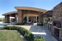 Pizza Oven, Tile, Outdoor Kitchen, Trellis, Mediterranean