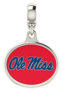 Mississippi OLE MISS Silver Enamel Dangle Charm Bead, $59.00