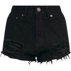 Freyanne Black Super Shred Denim Short (125 BRL) ❤ liked on Polyvore featuring shorts, bottoms, jean shorts, denim shorts, short jean shorts and short denim shorts