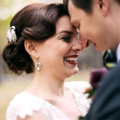 Bride's retro old Hollywood finger curl chignon bun bridal hair ideas Toni Kami Wedding Hairstyles ♥ ❶ Romantic photography with groom