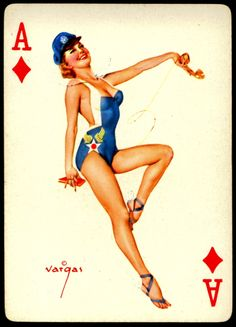 Alberto Vargas - Pin-up Playing Cards (1950) - Ace of Diamonds