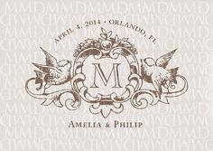 Love+Birds+Heraldry+Monogram+Custom+Wedding+by+merrymint+on+Etsy,+$25.00