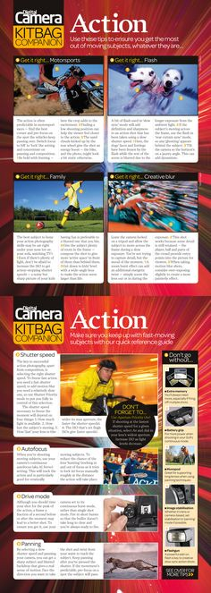 Free action photography cheat sheet: download to find out how to photograph common moving subjects like family and motorsports, as well as get creative with motion blur. Digital Camera World
