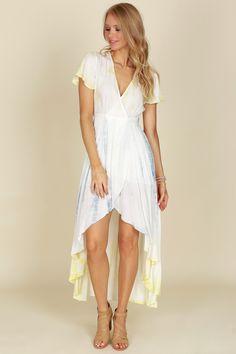 Tie Dye Wrap Dress Yellow/Blue
