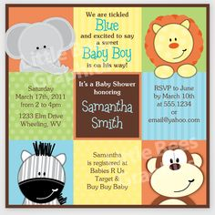 Free Printable Baby Shower Invitations | Stylish Jungle Animals Printable Baby Shower or Birthday Invitation ...