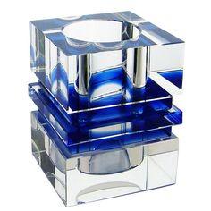 Amlong Crystal Desktop Collection Crystal Pen Holder, Blue