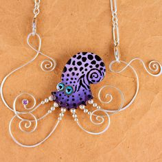 """Kraken Octopus necklace"" - Sean Brown (ceramic, sterling silver, 22k white gold, cubic zirconia stone)"