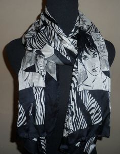 Vintage ladies silk scarf  designer newsprint by EmpireAntiques