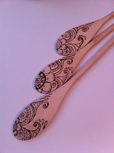 Decorative wooden spoons- wood burned designs
