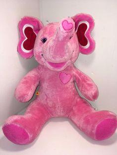 "BUILD-A-BEAR PINK HEARTS ELEPHANT 15"" PLUSH ANIMAL STUFFED Lavender Eyes So cute #BuildaBear #AllOccasion"