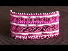 Wide Macramé Cuff Bracelet Tutorial   Macrame School - YouTube