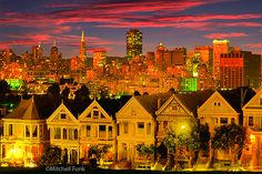 Alamo Square Victorian In The Western Addition At Dusk  www.mitchellfunk.com