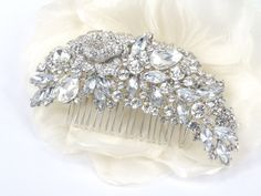 $32 Antheia - Swarovski Crystal Floral Bridal Hair Comb