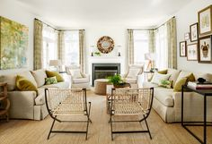 A natural fiber rug instantly grounds a pristine white room by adding a woven rough-hewn layer.