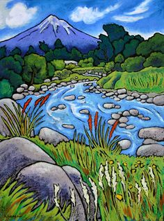 Wendy Leach Artist - New Zealand Landscape Art Quilts, Landscape Artwork, New Zealand Art, Nz Art, Hawaiian Art, Maori Art, Naive Art, Art Techniques, Design Art