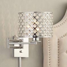 "Possini Euro Glitz 9"" Wide Plug-In Swing Arm Wall Lamp - #Y4639   Lamps Plus"