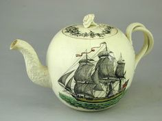 English creamware teapot transfer printed with a ship and compass (England c. 1770)