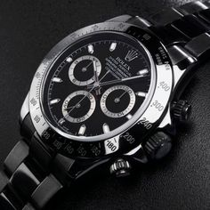59008af6b69 Rolex Stainless Steel Daytona with Black Dial All Black Watches