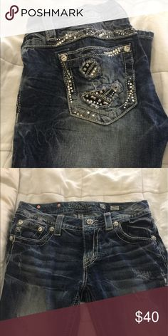 Miss Me Signature Skinny Jeans- Distressed Cool Rips and silver embellishments Miss Me Jeans Skinny