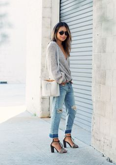 Slouchy sweater and boyfriend jeans on Sincerely Jules
